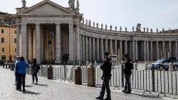 Italian police guard a shuttered St. Peter's Square