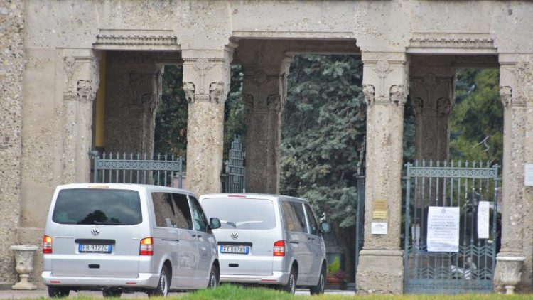 Hearses arriving at Bergamo's Monumentale cemetery.