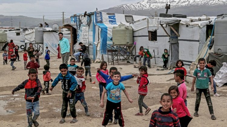 Syrian refugee children in a camp in Lebanon.