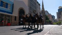 South Africa mounted Police patrol in Cape Town