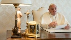 File photo of Pope Francis recording a video message