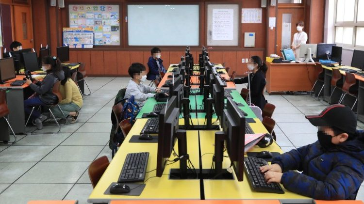 Schools in South Korea opened online due to coronavirus pandemic.