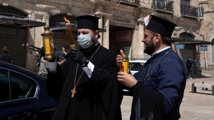Orthodox Holy Fire ceremony in Jerusalem on April 18, 2020.