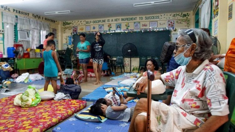 A school-turned- evacuation-centre in Bulan, Philippines, during Typhoon Vongfong.
