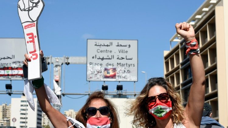 Anti-government protesters in Beirut gathered in rejection of the draft amnesty law