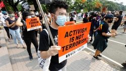 Protesters in Quezon City march against the new anti-terrorism bill