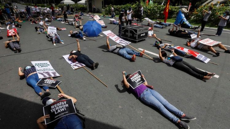 Protest against new anti-terrorism law in the Philippines.