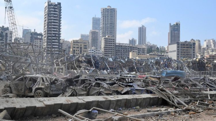 Aftermath of Beirut Port explosions on Tuesday