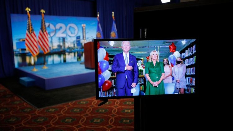 Joe Biden and his wife Jill appear onscreen