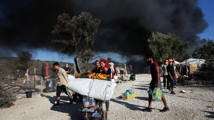 Fire at Moria refugee camp in Greece