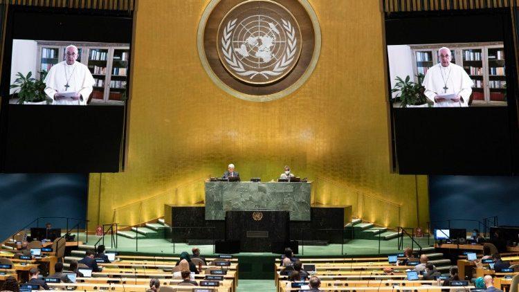 Le Pape s'exprimant lors de la 75ème Assemblée générale des Nations unies.