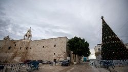 Manger Square, next to the Church of the Nativity, in Jesus' native town, Bethlehem, deserted under lockdown.