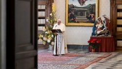 Pope Francis delivering the Angelus prayer