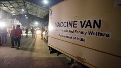 A consignment of Covid-19 vaccines at Guwahati airport, India, on 12 January 2021