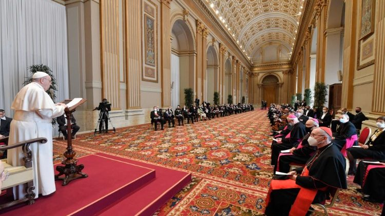 Pope Francis addressing members of the diplomatic corps on 8 February 2021