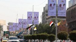 Banners welcoming Pope Francis along the streets of Baghdad