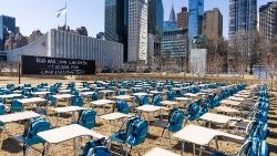 UNICEF's 'Pandemic Classroom' set up at the United Nations headquarters in New York.
