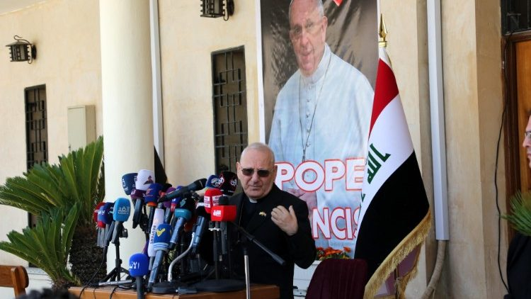 Cardinal Louis Sako speaks to the media about the preparations for Pope Francis' arrival in Iraq