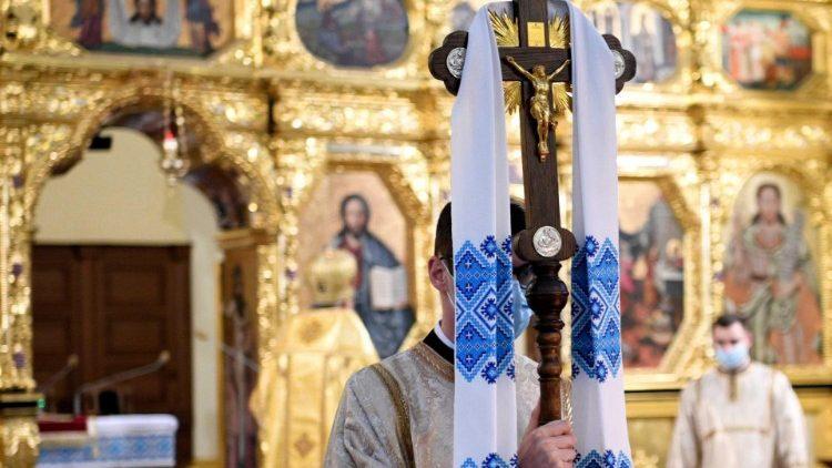 Greek Catholic priests celebrate Easter Sunday Mass in Przemysl, Poland
