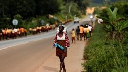 Schoolchildren walking home near Princess town, Ghana