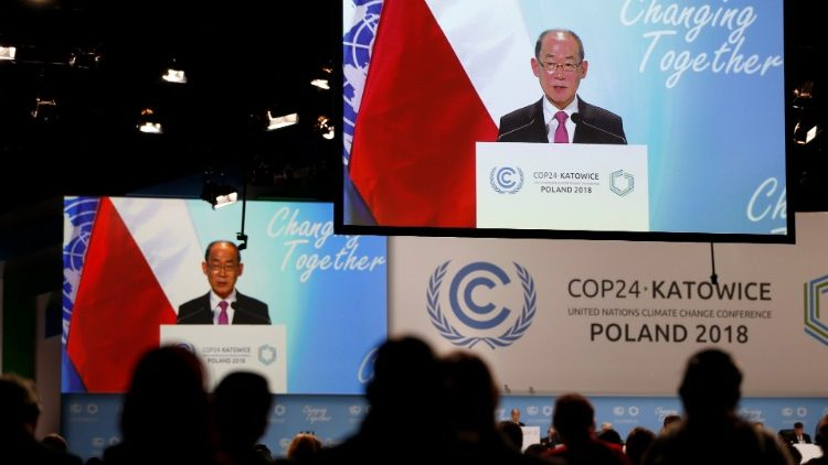 A speaker addresses the  COP24 U.N. Climate Change Conference 2018 in Katowice