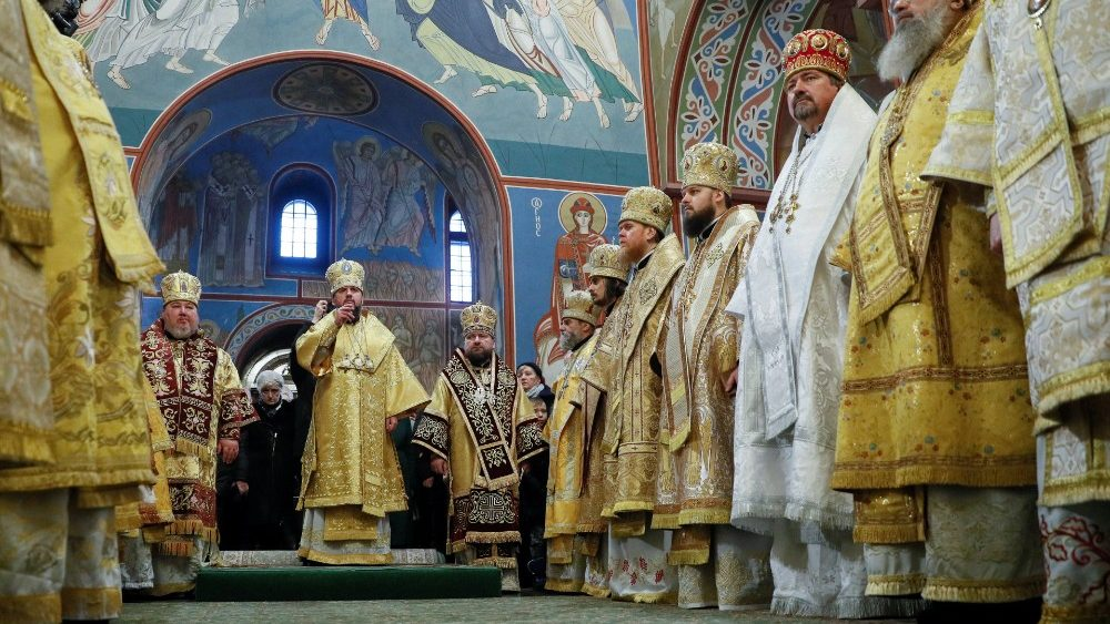 Metropolitan Epifaniy (Dumenko), newly elected head of the Orthodox Church of Ukraine, conducts a liturgy at the St. Michael's Golden-Domed Cathedral in Kiev