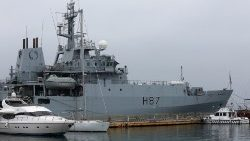 A British Royal Navy ship, HMS Echo, is docked in Odessa