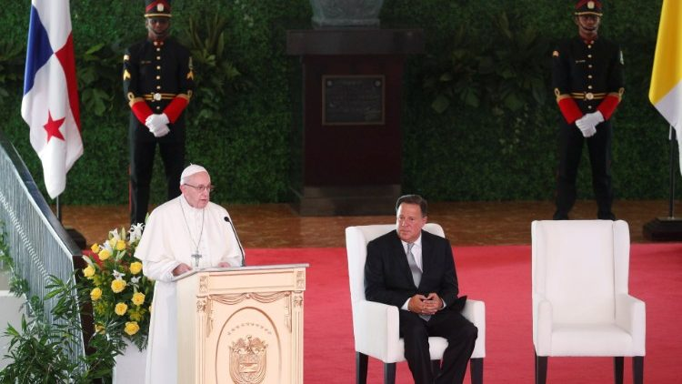 Pope Francis addressing Panama's authorities, diplomats , civil society.
