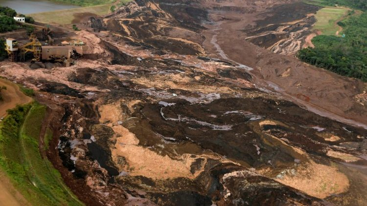 General view from above of a dam owned by Brazilian miner Vale SA that burst, in Brumadinho