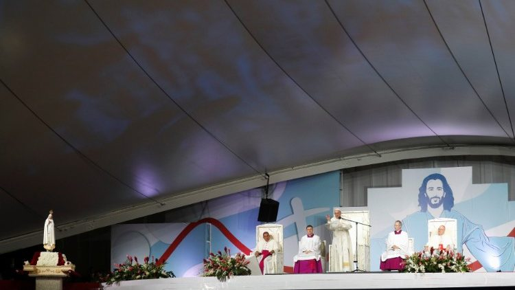 Pope Francis delivers a speech during a vigil at Saint Paul II Metro Park during World Youth Day in Panama City