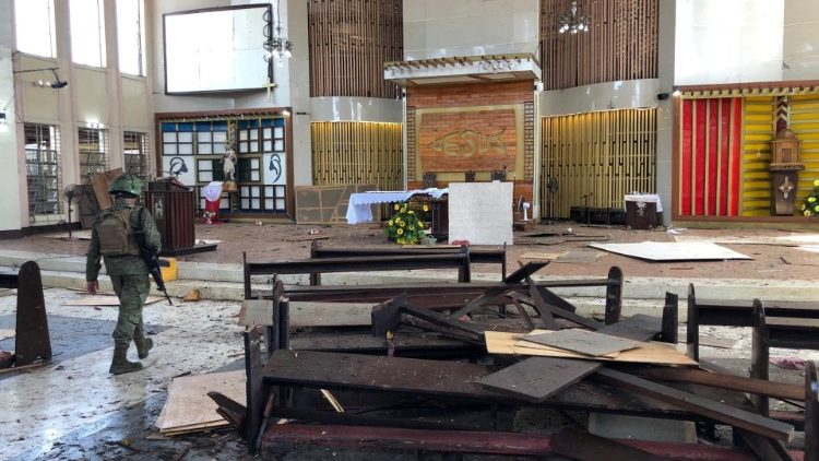The inside of the Cathedral of Our Lady of Mount Carmel in Jolo, the Philippines after a bomb attack on Jan. 27, 2019.