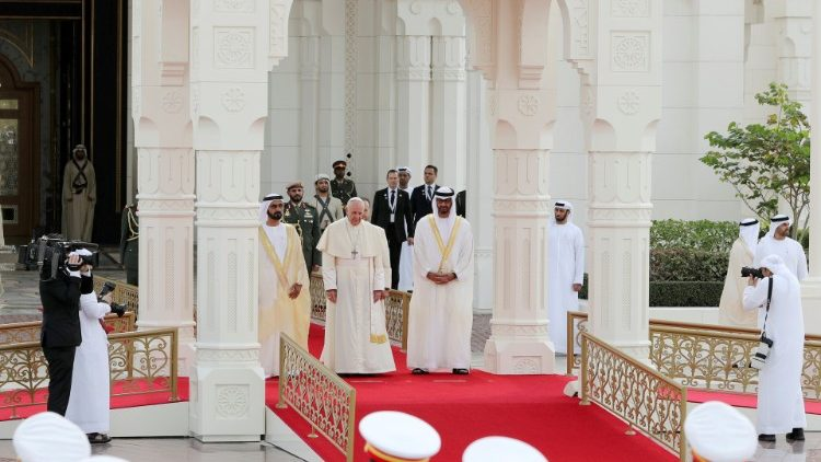 Pope Francis is welcomed by Vice-President of the United Arab Emirates and ruler of Dubai Sheikh Mohammed bin Rashid al-Maktoum, and Abu Dhabi's Crown Prince Mohammed bin Zayed Al-Nahyan during a welcome ceremony at the Presidential Palace in Abu Dhabi