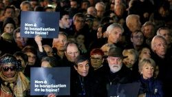 People attend a national gathering to protest antisemitism and the rise of anti-Semitic attacks in the Place de la Republique in Paris