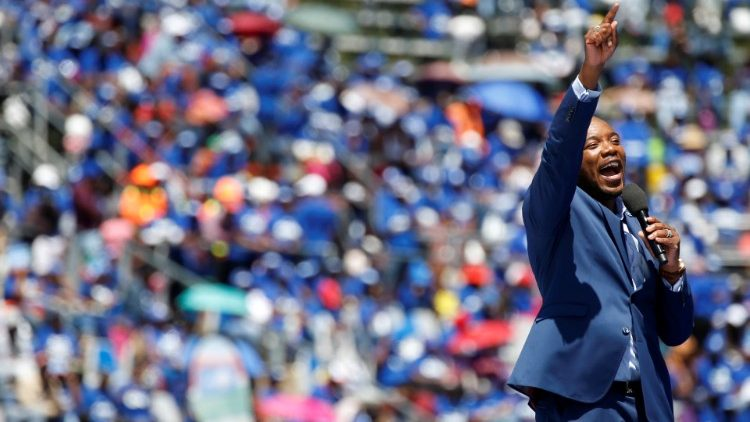 Leader of South African opposition party, the Democratic Alliance (DA) Mmusi Maimane speaks during the party's election manifesto launch in Johannesburg