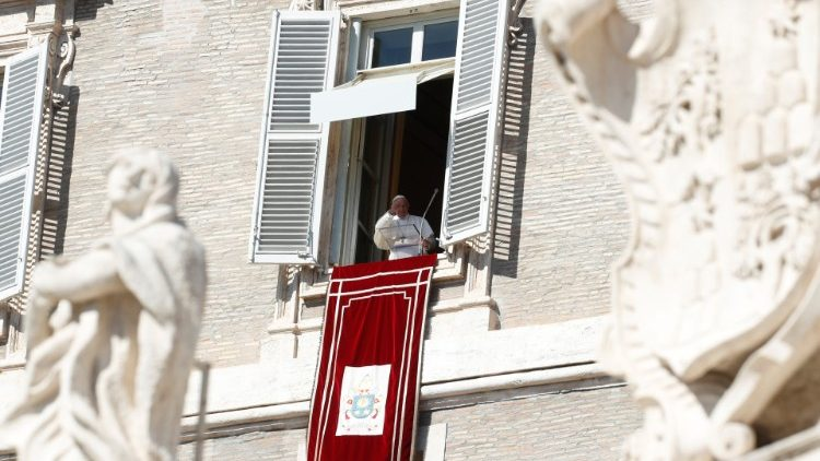 Pope Francis leads the Angelus prayer in Saint Peter's Square