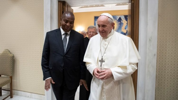 Pope Francis meets with Central African Republic President Faustin Archange Touadera at the Vatican