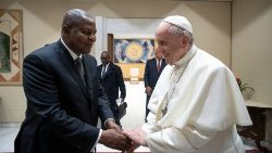 President Touadéra on a visit to Pope Francis in 2016