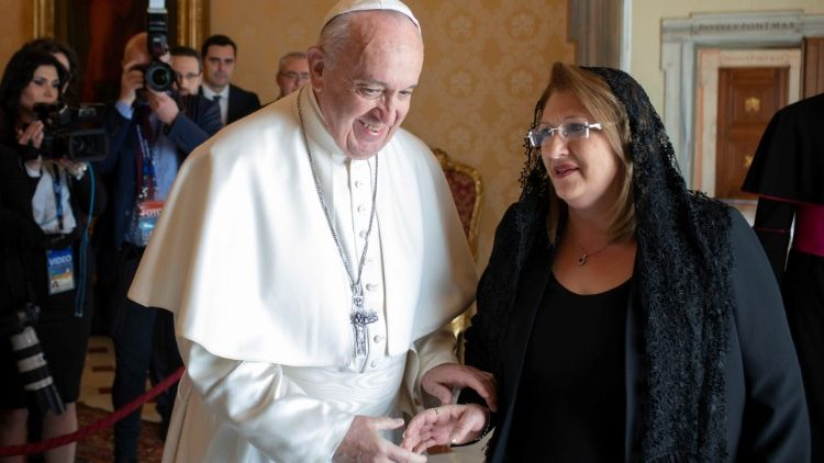 Pope Francis and President Marie-Louise Coleiro Preca of Malta in the Vatican, March 21, 2019.