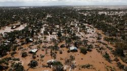 Flooded homes in Mozambique.