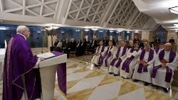 Pope Francis conducts a mass at Santa Marta chapel at the Vatican