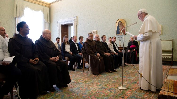 "Pope Francis attends a meeting with members from ""Missionszentrale der Franziskaner"" at the Vatican"