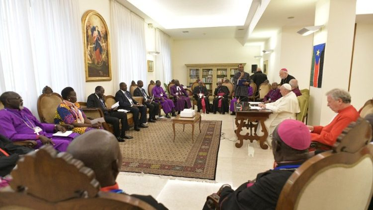 Pope Francis attends a meeting at the end of a two day Spiritual retreat with South Sudan leaders at the Vatican