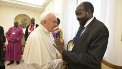 Pope Francis shakes hands with the President of South Sudan Salva Kiir