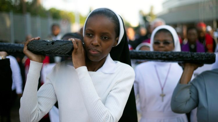 Religious sisters carrying a cross in Durban, South Africa