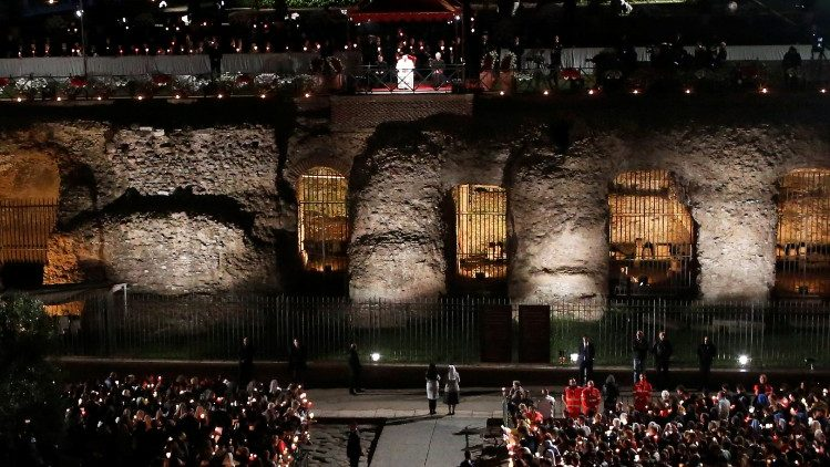 Pope Francis leads the Via Crucis procession at Rome's Colosseum
