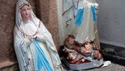 A statue of the Virgin Mary broken in two at St. Anthony's Catholic Shrine in Kochchikade