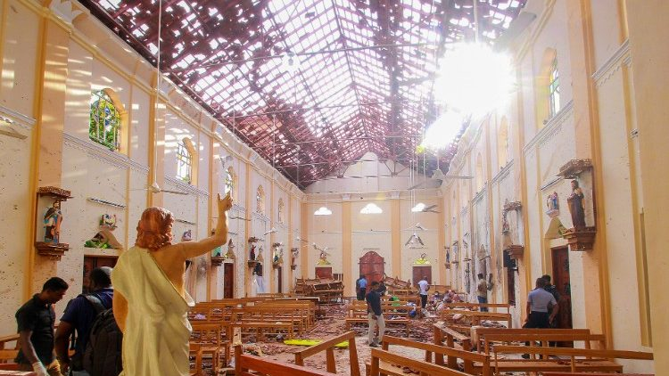 St. Sebastian's Church in Negombo, Sri Lanka, after the Easter Sunday terrorist attack on April 21, 2019.