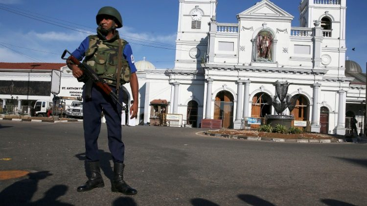A security officer stands in front of St Anthony's shrine in Colombo