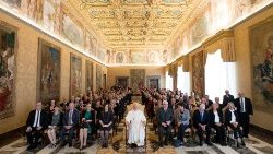 Pope Francis attends a meeting with the members of European Food Banks Federation at Hall of the Consistory at the Vatican