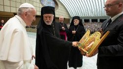 Pope Francis receives members of the Eparchy of Lungro that brings together Italian-Albanian Catholics, at the Vatican